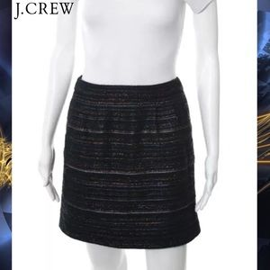 J CREW Blue Metallic Knit Pleated Pencil Skirt